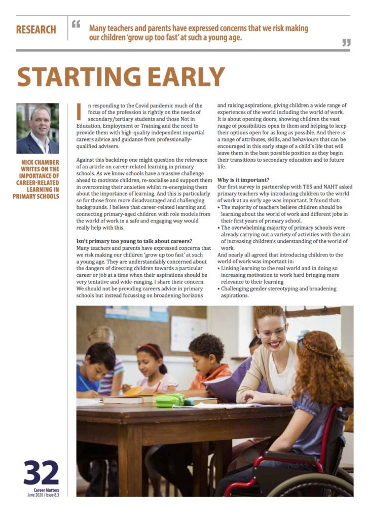 Starting early – article published in the latest edition of the Career Development Institute Magazine