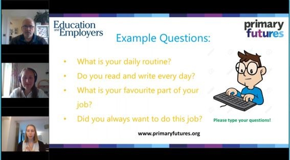 Webinar screen with three attendees' cameras on the left-hand side. The slide displays example questions for children to ask the volunteers about their jobs.