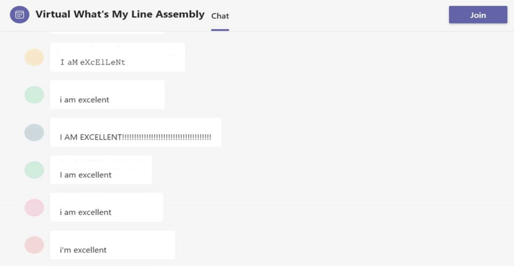 """Screen of a MS Teams chat with messages from pupils saying """"I am excellent!"""""""