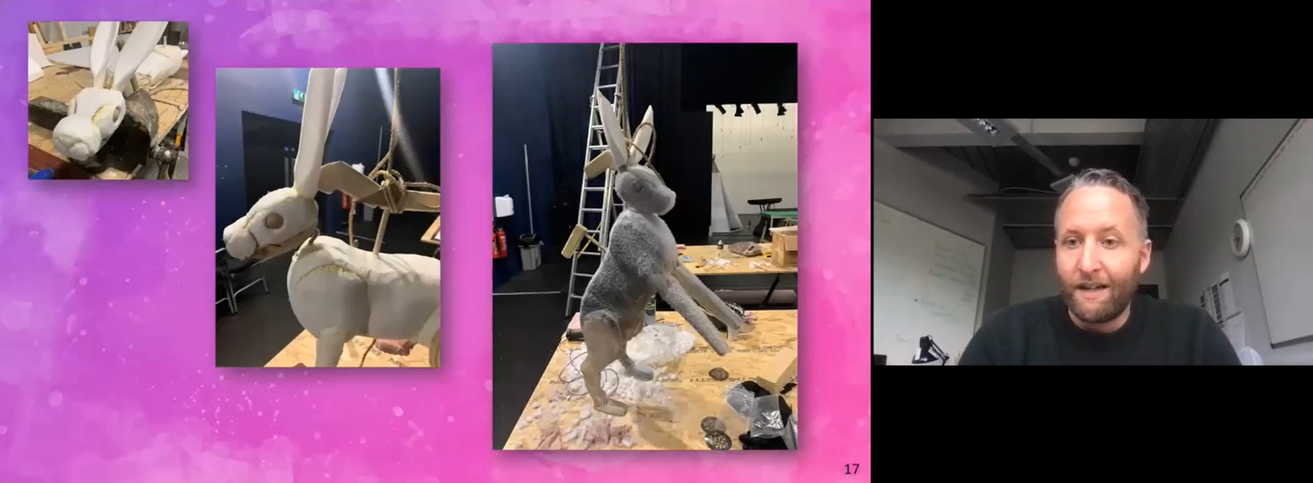 Michael talks through his presentation slide - images of a puppet hare he created for a show, in three different stages of being created.