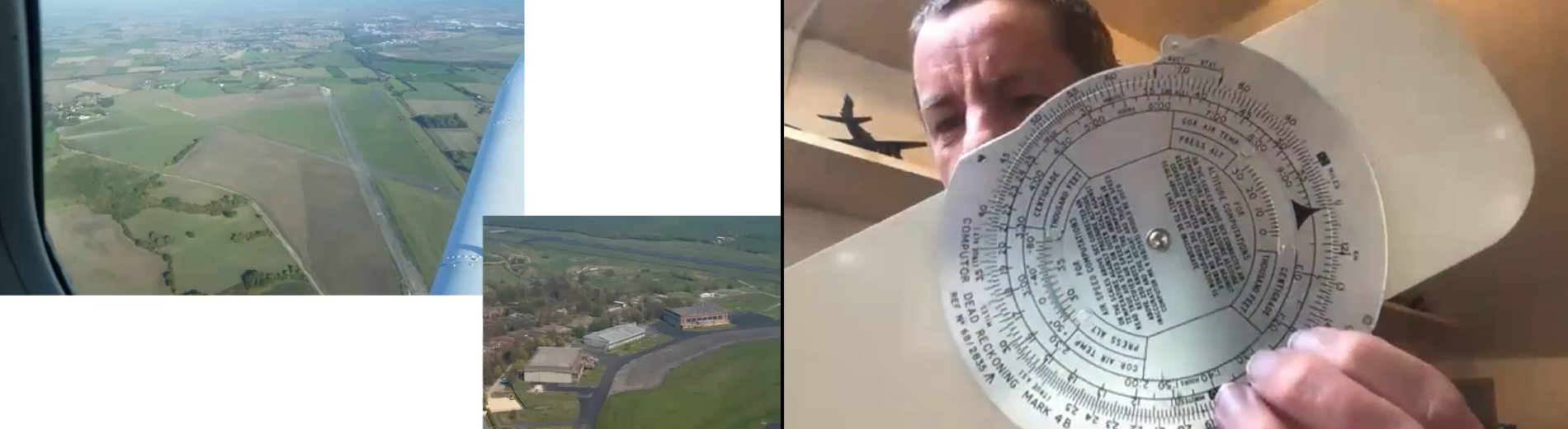 Volunteer John shows the camera an analogue computer - a silver disc with calibrations and numbers showing around the circle. The left-hand side of the image shows photos taken from a plane window over green fields and houses.